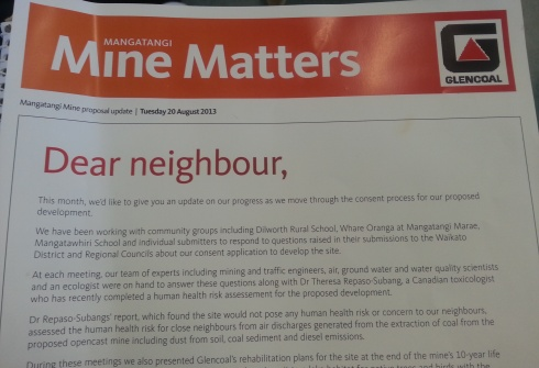 A flyer from Glencoal delivered to local residents.