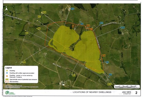 Map showing the houses that will be most affected by the mine